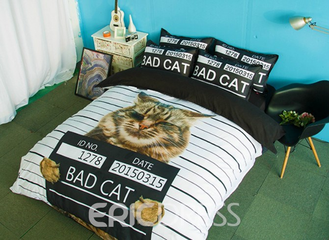 Vivilinen Bad Cat Print 4-Piece Polyester Duvet Cover Sets