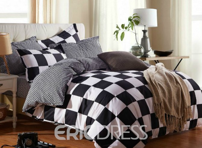 Vivilinen Black and White Check Print Polyester 4-Piece Bedding Sets/Duvet Covers