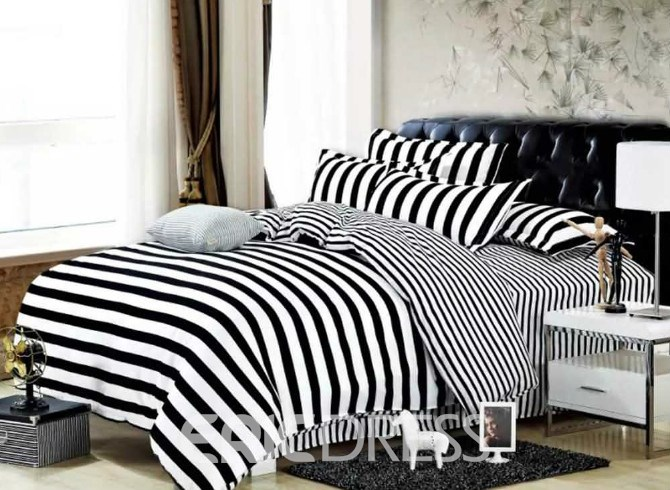 Vivilinen Black White Stripes Polyester 3-Piece Bedding Sets/Duvet Covers