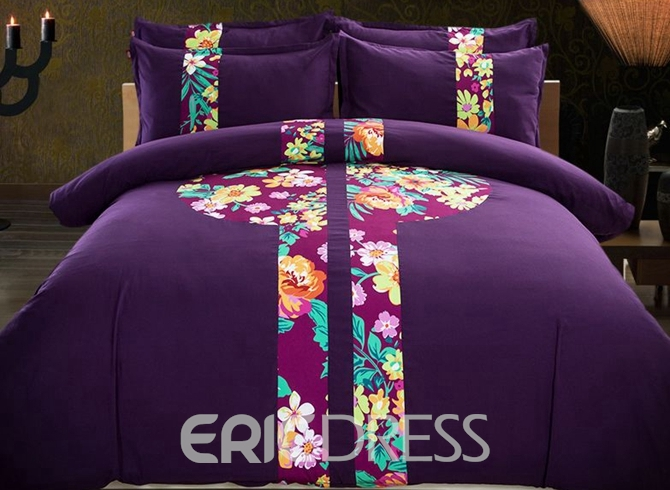Vivilinen Fabulous Peony Print Purple 4-Piece Cotton Duvet Cover Sets