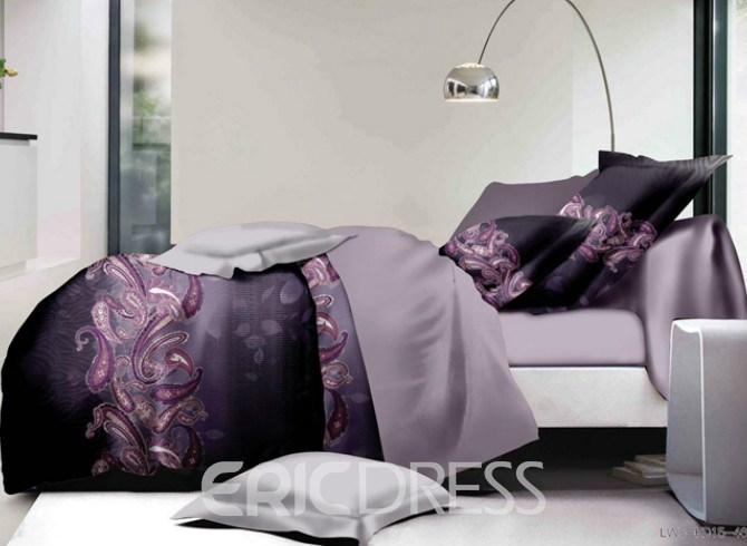 Vivilinen Purple Paisley Print Polyester 4-Piece Bedding Sets/Duvet Covers