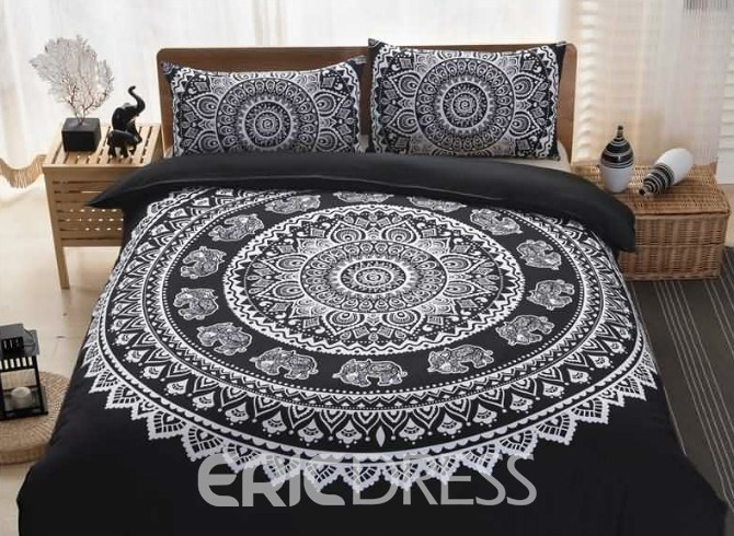 Vivilinen Medallion Black Print 3-Piece Duvet Cover Sets