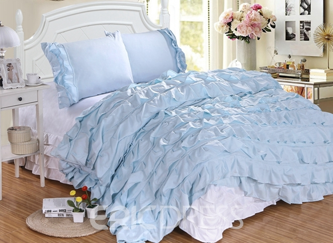 Vivilinen Royal Waterfall Ruffle 4-Piece Polyester Duvet Cover Sets