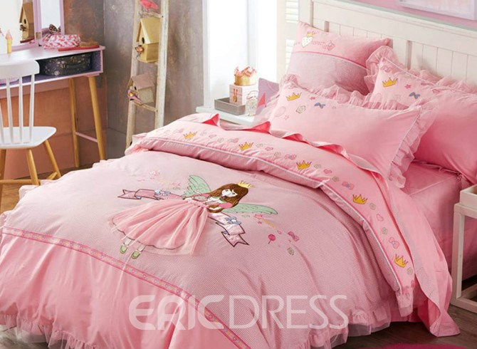 Vivilinen Faerie Pattern Cotton Princess Style 4 Pieces Pink Duvet Covers/Bedding Sets