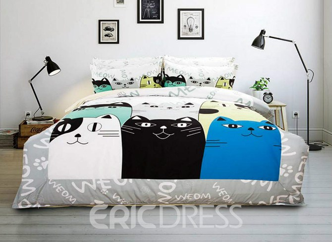 Vivilinen Special Cartoon Cats Pattern Kids 4-Piece Duvet Cover Set
