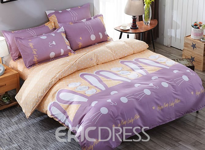 Vivilinen Purple Rabbits Prints Polyester 4-Piece Girls Bedding Sets/Duvet Cover