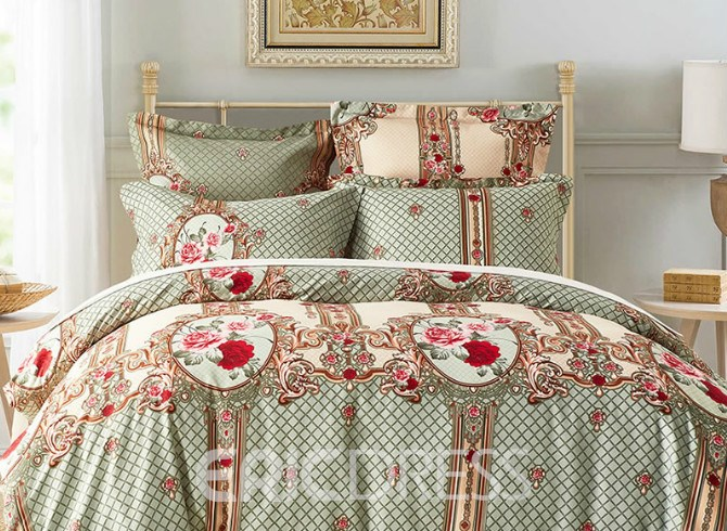 Vivilinen Rose and Plaid Printed Polyester 3-Piece Bedding Sets/Duvet Cover