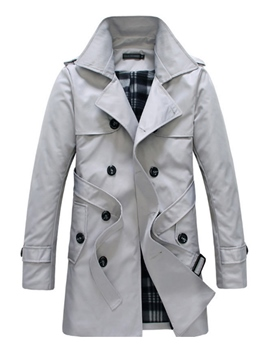 Ericdress Notched Lapel Long Slim Double-Breasted Men's Trench Coat