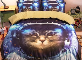 Vivilinen 3D Astronaut Cat in Space Printed Polyester 4-Piece Bedding Sets/Duvet Covers