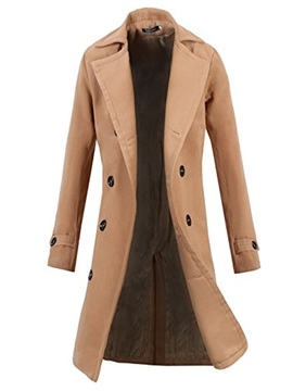 Ericdress Plain Double-Breasted Vogue Slim Men's Woolen Coat