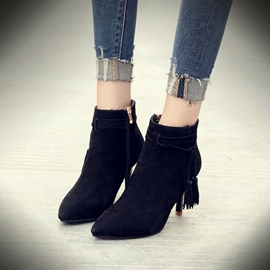 Ericdress Fringe Pointed Toe Plain High Heel Boots