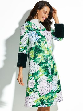 Ericdress A Line Plant Floral Print Button Coat