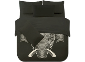 Vivilinen One Big Elephant with Black Background 4-Piece Polyester Duvet Cover Sets