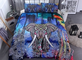 Vivilinen 3D Colorful Elephant Printed Ethnic Style Polyester 3-Piece Bedding Sets/Duvet Covers