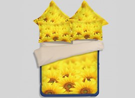 Vivilinen Bright Yellow Sunflower Print 4-Piece Polyester Duvet Cover Sets