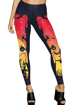 Ericdress Halloween Print Pumpkin Leggings Pants