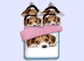 Vivilinen Lovely 3D Puppy Print 4-Piece Polyester Duvet Cover Sets