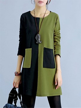 Ericdress Patchwork Casual Dress