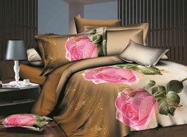 Vivilinen Pink Rose and Ring Print 4-Piece Polyester Duvet Cover Sets