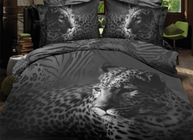 vivilinen schwarz close-up leopard print polyester 3d Bettwäsche-Sets
