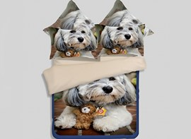 Vivilinen Skincare Lovely Puppy 3D Printed 4-Piece Polyester Duvet Cover Sets