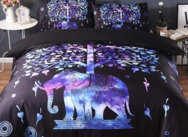 Vivilinen 3D Elephant and Tree Printed Exotic Style Polyester 3-Piece Black Bedding Sets