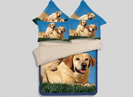 Vivilinen Dog Mother and Son Print 4-Piece Polyester Duvet Cover Sets