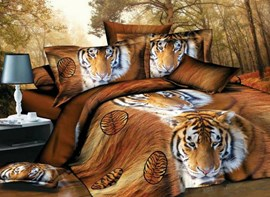 Vivilinen Siberian Tiger Face 3D Printed Polyester 4-Piece Bedding Sets