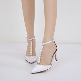 Ericdress Rhinestone T-Shaped Buckle Stiletto Heel Wedding Shoes with Beads