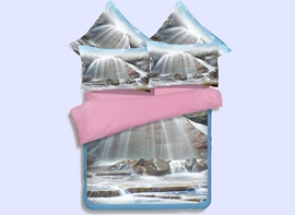 Vivilinen 3D Waterfall Printed 4-Piece Polyester Duvet Cover Sets