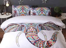 Vivilinen 3D Elephant Ethnic Zentangle Style Printed Polyester 3-Piece Bedding Sets/Duvet Covers