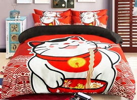 Vivilinen Lovely Cat Eating Noodles Print 4-Piece Polyester Duvet Cover Sets