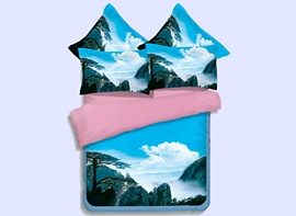 Vivilinen Charming Greeting Pine and Clouds Print 4-Piece Polyester Duvet Cover Sets