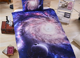 Vivilinen 3D Space Galaxy Printed Polyester 3-Piece Blue Bedding Sets/Duvet Covers