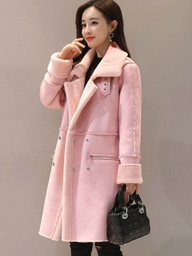 Ericdress Double-Breasted Mid-Length Plain Coat