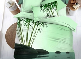 Vivilinen Fresh Green Bamboo Print 4-Piece Duvet Cover Sets