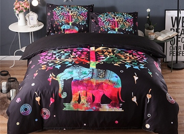 vivilinen 3d colorful elephant and tree printed polyester 3piece black bedding sets