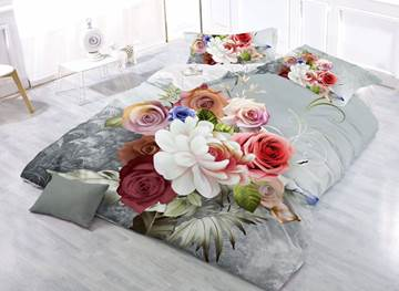 Vivilinen Stylish Peony and Rose Print 4-Piece Polyester 3D Duvet Cover Sets
