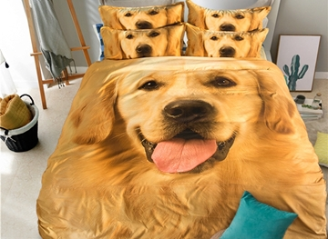 Vivilinen Lovely Golden Retriever Print 4-Piece Polyester Duvet Cover Sets
