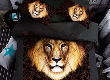 Vivilinen Regal 3D Lion Print 4-Piece Polyester Duvet Cover Sets