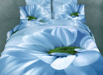 Vivilinen 3D Blooming Blue Flower Printed Cotton 4-Piece Bedding Sets/Duvet Cover