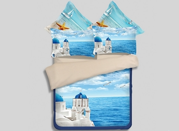 Vivilinen Romantic Aegean Sea 3D Printed 4-Piece Polyester Duvet Cover Sets