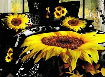 Vivilinen 3D Sunflower Leopard Printed Cotton 4-Piece Black Bedding Sets/Duvet Cover