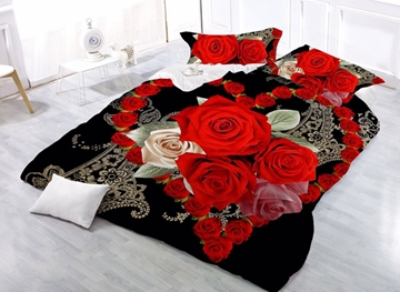 Vivilinen Romantic Heart-shaped Red Rose Printed 4-Piece Polyester Duvet Cover Sets