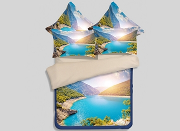 Vivilinen Spectacular Mountain Scenery Print 4-Piece Polyester Duvet Cover Sets