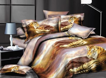 Vivilinen 3D Siberian Tiger Printed Polyester 4-Piece Bedding Sets