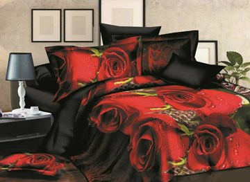 Vivilinen Dewy Red Rose 3D Printed Polyester 4-Piece Bedding Sets