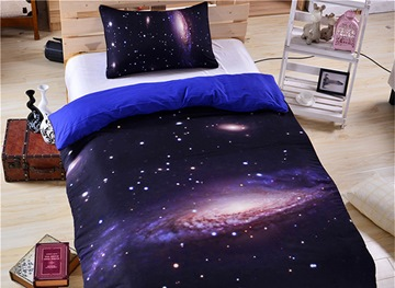 Vivilinen 3D Scintillating Galaxy Printed Polyester 3-Piece Purple Bedding Sets/Duvet Covers