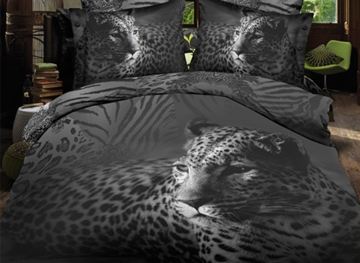 Vivilinen Black Close-Up Leopard Print Polyester 3D Bedding Sets