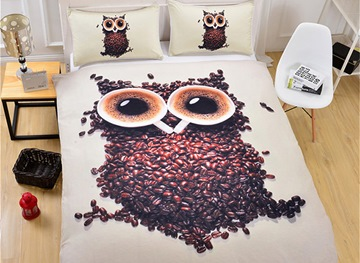 Vivilinen 3D Owl Coffee Bean Printed Polyester 3-Piece Black Bedding Sets/Duvet Covers
